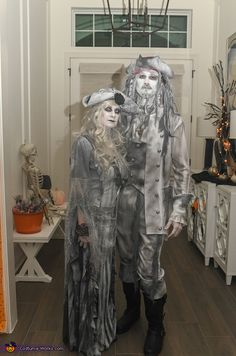 My husband and I are wearing the costumes. My husband wanted to be a pirate this year, but I couldn't let him be just and ordinary pirate so they are store bought outfits that I painted and distressed with white and grey fabric paint~ the. Ghost Halloween Costume, Scary Costumes, Scary Halloween Decorations, Family Halloween Costumes, Spooky Halloween, Vintage Halloween, Halloween Party, Halloween Ideas, Homemade Pirate Costumes