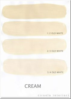 Cream . Excellent info from Ciruelo Interiors Blog .  Annie Sloan Chalk Paint extended range by graciela