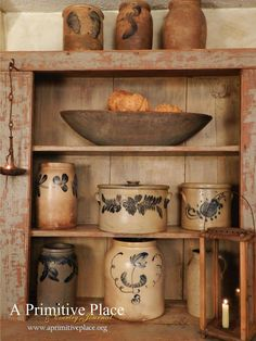 Vintage Home Decor .Vintage Home Decor Primitive Living Room, Primitive Furniture, Primitive Antiques, Primitive Decor, Antique Crocks, Old Crocks, Stoneware Crocks, Antique Stoneware, Prim Decor