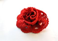 Crochet Scarf Red Crochet Scarf Crochet Lace by aboutCRAFTS