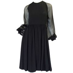 Preowned 1960s Black Silk & Chiffon Galanos Balloon Sleeve Dress (50.165 RUB) ❤ liked on Polyvore featuring dresses, black, shirred dress, ruched dress, lbd dress, silk chiffon dress and couture dresses