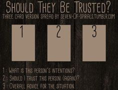"""Numerology Spirituality - violetwitchcraft: """" """" Should They Be Trusted? Spread (Full 3 card version) I made this spread a few months ago, but got caught up with life and didn't get around to posting it here. Get your personalized numerology reading Tarot Significado, Tarot Card Spreads, 3 Card Tarot Spread, Love Tarot Spread, Tarot Astrology, Oracle Tarot, Tarot Learning, Tarot Card Meanings, Tarot Readers"""