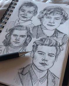 One Direction Drawings, One Direction Art, Desenho Harry Styles, Harry Styles Drawing, Arte Sketchbook, Harry Styles Wallpaper, Harry Styles Pictures, Art Hoe, Harry Edward Styles