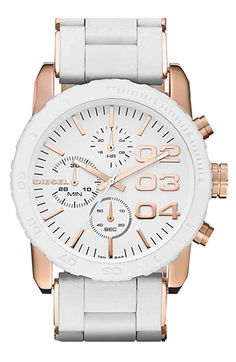 Ok, if anyone sees my husband, please tell him to add this to my birthday present list!!!!     DIESEL® Round Chronograph Silicone Bracelet Watch | Nordstrom
