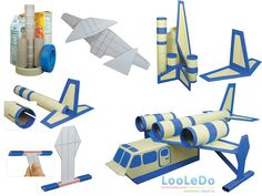 Avião de brinquedo com material reciclado