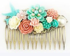 Coral Turquoise Wedding Hair Comb Bridesmaid Gift by Jewelsalem
