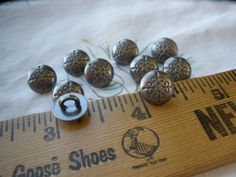 "Tiny Fleur De Lis Buttons Pewter color 16L (3/8"" 9.5 MM) dark gray stamped design sewing craft metal dome shank paper tag supply steampunk by kabooco on Etsy"