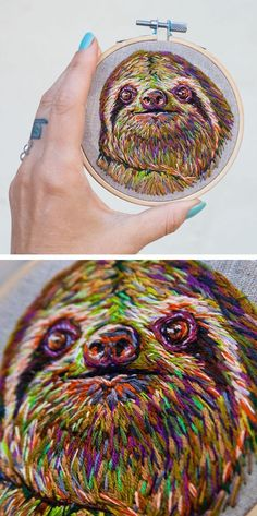 Embroidery Designs Danielle Clough embroidery // sloth embroidery - Artist Danielle Clough's unconventional hand embroidery ideas transform vintage rackets into a frame for flowers and succulents. Learn Embroidery, Embroidery Jewelry, Embroidery For Beginners, Hand Embroidery Patterns, Embroidery Techniques, Ribbon Embroidery, Embroidery Thread, Cross Stitch Embroidery, Machine Embroidery