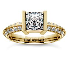 Princess Half Bezel Knife Edge Diamond Engagement Ring in Yellow Gold  http://www.brilliance.com/engagement-rings/half-bezel-knife-edge-diamond-ring-yellow-gold-1/2-ctw