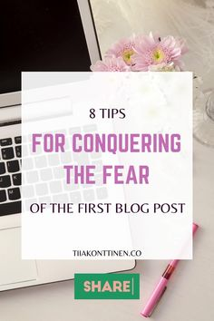 """You have a blog and have written your first post. But now you have to have the courage to press the """"Publish"""" button and show your thoughts to the whole world. Discover these 8 tips for conquering the fear of the first blog post. #blogging #bloggingforbeginners #howtostartablog #postideas #tiiakonttinen Blog Writing Tips, Writing Topics, How To Create A Successful Blog, How To Start A Blog, Poetry Blogs, Blog Post Template, Writing Challenge, Writing About Yourself, Blog Names"""