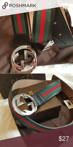 c8b73614b77 😎Authentic Gucci Web Belt Black Green Red Stripes 😎Authentic Gucci Web  Belt Black Green