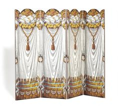 Zuber et Cie: A French four panel wallpaper mounted screen. 19th century. H. 220 cm. W. 65,5 cm. W. in total 262 cm