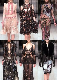 05-alexander-mcqueen-aw1617 - Lazer Cut Lace Pattern – Surreal Conversational Prints – Exotic Embroidered Wildlife – Placed Butterfly and Moths – Delicate Falling Florals – Renaissance Botanical Florals – Dark Poetic Blooms