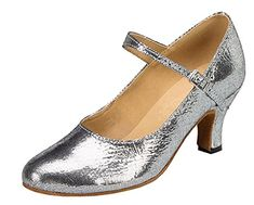 TDA Womens Kitten Heel Mary Janes Glitter Silver PU Leather Buckle Closed Toe Salsa Tango Ballroom Latin Dance Shoes 10 BM US ** For more information, visit image link.