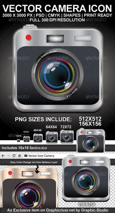Printable Vector Camera Icon