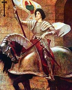 Joan of Arc on horseback with banner by Sir William Blake Richmond