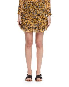 ETOILE ISABEL MARANT BRINLEY TIERED FLORAL SILK SKIRT, YELLOW. #etoileisabelmarant #cloth #
