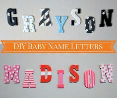 Nursery DIY baby letters of children's names.  Paint + wood --> so simple!
