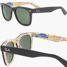 Ray-Ban Wayfarer 'Rare Prints' Sunglasses features this exclusive model with a visible map of the New York Metro system.