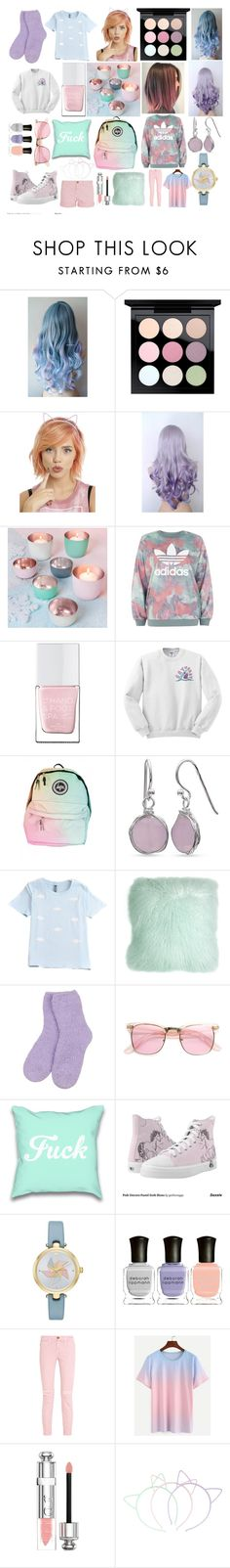 Pastel by rosie-orde on Polyvore featuring adidas, Current/Elliott, Kate Spade, Belk Silverworks, ZeroUV, Christian Dior, MAC Cosmetics, Deborah Lippmann, The Hand & Foot Spa and Pillow Decor