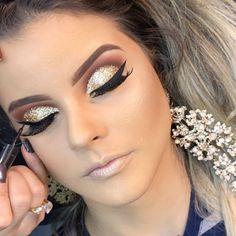 Sombra glitter dourada Wedding Eye Makeup, Prom Makeup, Diy Makeup, Makeup Inspo, Makeup Tips, Beauty Makeup, Hair Wedding, Makeup Tutorials, Dramatic Eye Makeup