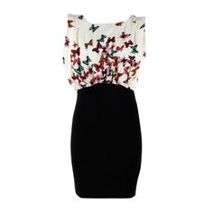 AX Paris Butterfly Print Top Dress ($15) ❤ liked on Polyvore featuring dresses, vestidos, monarch butterfly dress, butterfly print dress, kohl dresses, black dress and moth dress