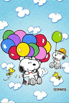 Snoopy, his Cousin, and Woodstock flying Balloons