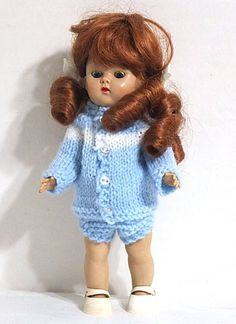 "Vogue - Ginny Doll 8"" - 1950s - w/ Cute Knit Outfit"