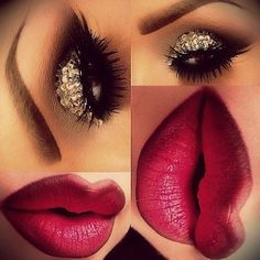 Love the lip color  makeup.. crystal stones on the eyes and burghandy wine lip color