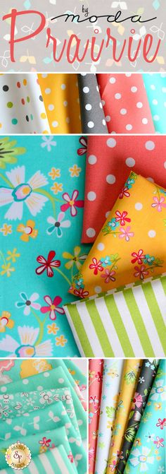 Prairie for Moda Fabrics - Corey Yoder  Prairie fabric by Corey Yoder from Little Miss Shabby is perfect for a colorful, fun quilt. Use this playful fabric for a young girl's room or to brighten up any area of the house.