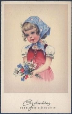 Geburtstagskarte - Mädchen mit Blumen ( K00835 ), Briefmarken-Versand-Welt - Briefmarken, Ansichtskarten und mehr