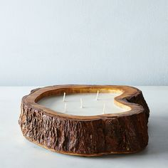 Made from a slice of a tree trunk!  What a creative rustic idea!