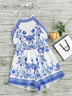 Shop Halterneck China Print Playsuit online. SheIn offers Halterneck China Print Playsuit & more to fit your fashionable needs.