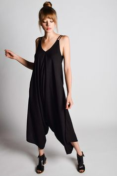 Slip into this comfortable jumpsuit that is the perfect mixture of easy and chic. Featuring adjustable double spaghetti straps, hidden pockets, a comfortable drop crotch, and slanted wide legs. Handmade in India, it is designed and made by women. Vegan Fashion, Green Fashion, Slow Fashion, Ethical Fashion, Fashion Brands, Fair Trade Fashion, Schneider, Jumpsuits For Women, Sustainable Fashion