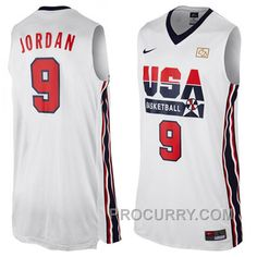 0697afc2dab Michael Jordan Nike USA 1992 Dream Team Jersey-White