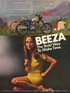 """An original 1969 advertisement for BSA Victor Special 441 motorcycle. Featuring this sexy brunette in a yellow dress. """"BEEZA. The bold way to make time"""" -An original 1969 BSA Victor 441 advertisement"""