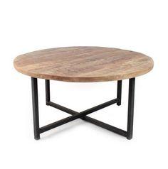 De salontafel udin heeft door het zwart metalen frame in combinatie met het  mango houten blad een echt vintage uitstraling. Afmeting: Lengte:   80 cm Breedte: 80 cm Hoogte:  40 cm