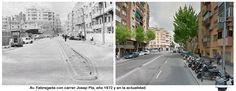 Av. Fabregada con carrer Josep Pla, año 1972 y en la actualidad