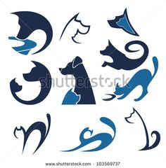 cats and dogs, vector pets collection