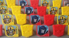 24 TRANSFORMERS Bumblebee and Optimus Prime rings for cupcake toppers cake birthday party favors goodie bags Cartoon Network robots shield