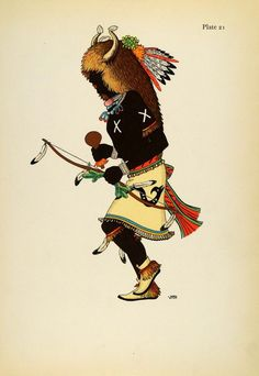 1941 Lithograph Pueblo Indian, Mens Simple Costume. Tablita Dance, Santo Domingo by Virginia More Roediger (via periodpaper).