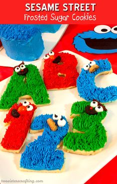 Everyone at your Sesame Street Party will love these adorable and easy to make Sesame Street Frosted Sugar Cookies. For more great Sesame Street Party Ideas follow us at https://www.pinterest.com/2SistersCraft/