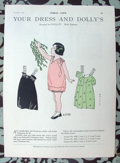 8x11 Child Life 1929 Christmas Magazine Paper Doll Girl Dress C7 | eBay