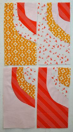 How to Sew Improv Curved Quilt Blocks: no-pin wonky curves by Lindsay Conner @ craftsy