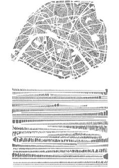 A poster from Armelle Carnon treating solids from a figure-and-ground map of Paris as a kind of typography
