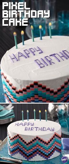 Bits of color come together in an electric way on this amazing birthday cake! Use Color Right colors mixed with water to paint a fondant strip in various levels of intensity, then cut thin strips of the pattern to create the wave effect around the cake.