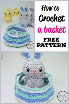Free crochet pattern for this simple and cute basket! The basket is made with single crochet and there is even a video on how to make these! Perfect for yarn storage makeup or an an Easter basket Easter Crochet Patterns, Crochet Basket Pattern, Crochet Beanie Pattern, Crochet Patterns Amigurumi, Crochet Baskets, Yarn Projects, Crochet Projects, Crochet Ideas, Cute Crochet