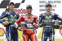 Race winner Andrea Dovizioso, Ducati Team, second place Valentino Rossi, Yamaha Factory Racing, third place Jorge Lorenzo, Yamaha Factory Racing