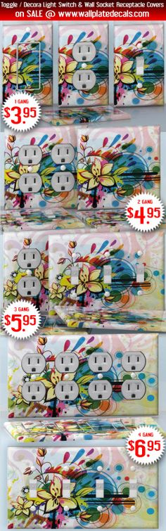 DIY Do It Yourself Home Decor - Easy to apply wall plate wraps | Sunday Blooming  Abstract flowers and colors  wallplate skin stickers for single, double, triple and quadruple Toggle and Decora Light Switches, Wall Socket Duplex Receptacles, and blank decals without inside cuts for special outlets | On SALE now only $3.95 - $6.95