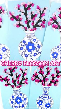 Simple and beautiful cherry blossom art project for kids of all ages. Design a Japanese art vase and fill it with colorful cherry blossoms. Easy spring craft for kids. For Kids How to Make a Cherry Blossom Art Project Kids Crafts, New Year's Crafts, Spring Crafts For Kids, Art For Kids, Arts And Crafts, Kids Diy, Decor Crafts, Art Project For Kids, Easy Crafts